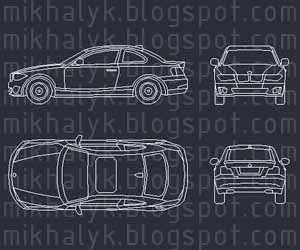 autocad block bmw car plan view