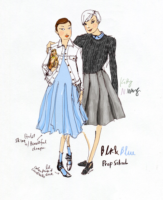 Kitty N. Wong / Prep School Girls fashion illustration