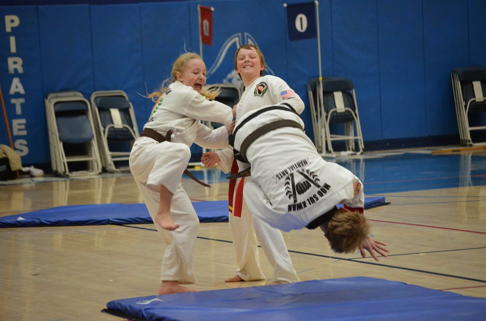 Martial arts children defending themselves with self-defense