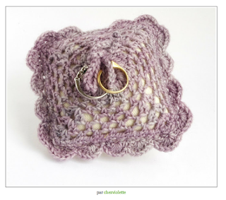 wedding purple ring pillow