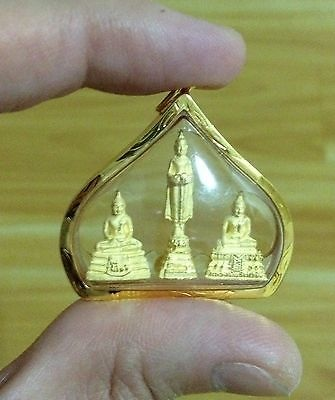 Luxury Thai Buddha Amulet 3 Buddha Posture Pendant Collector Edition