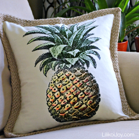 DIY Tropical Pineapple Pillow Cover. This project is so easy and inexpensive! Use any graphic and color to create a custom look!