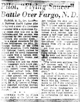 Pilot, 'Flying Saucer' Battle Over Fargo, N.D. 10-2-1948