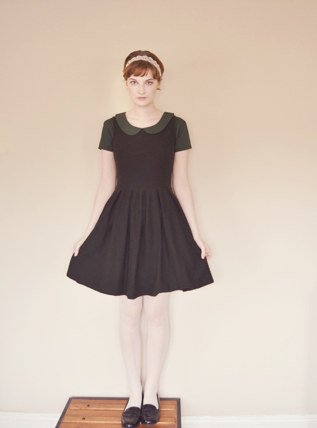 Peter Pan collar, black dress
