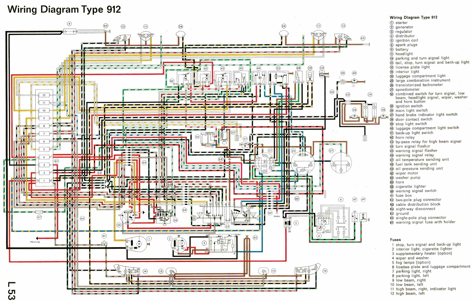 Porsche Type 912 Complete Electrical Wiring Diagram