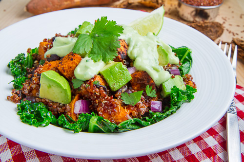 Chipotle Roast Sweet Potato and Black Bean Quinoa Salad with Creamy ...