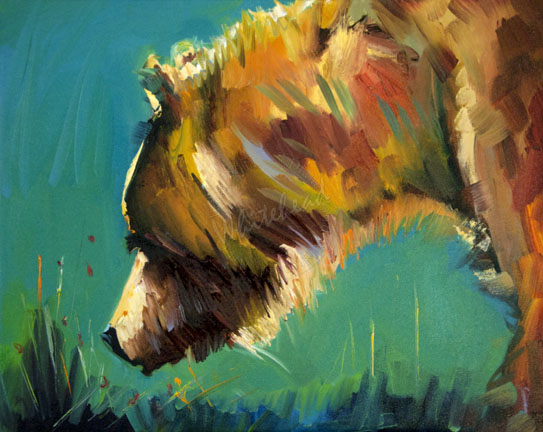 Daily painters abstract gallery nosey bear animal art oil for Animal oil paintings