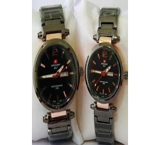 jam tangan keren SWISS ARMY SA-6138M ROSE GOLD (SEPASANG)