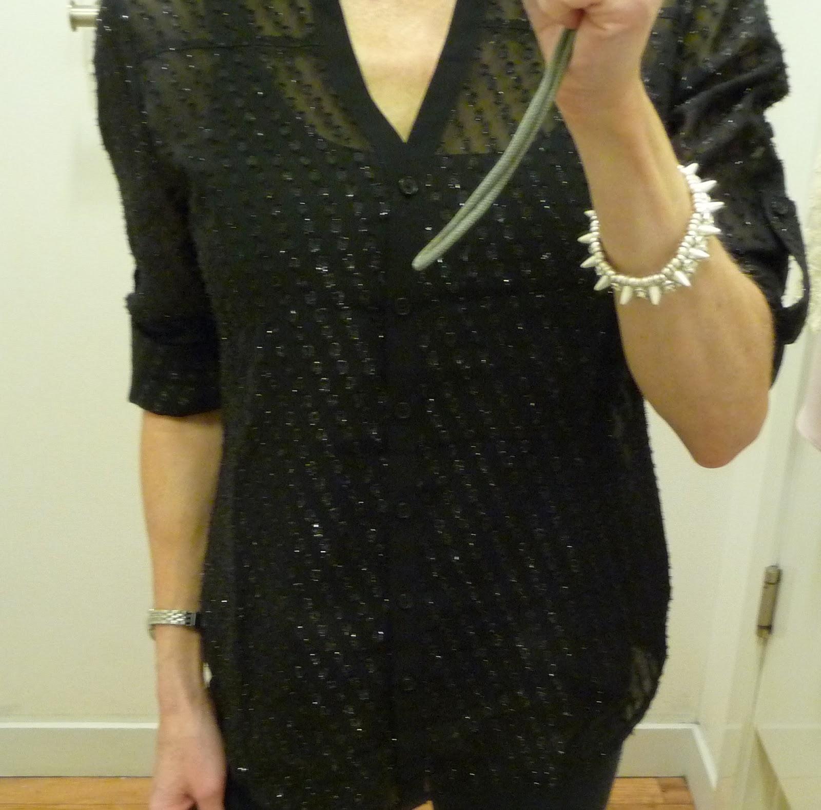 Express metallic clip dot chiffon shirt, sparkly portofino
