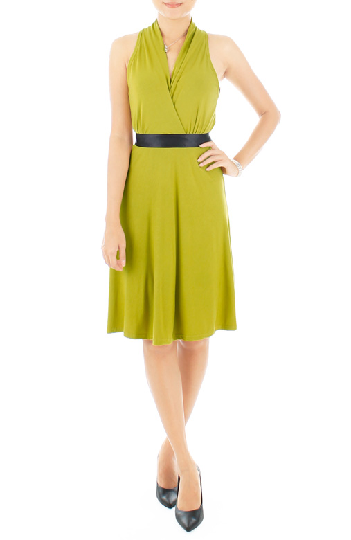Marilyn Flare Halter Dress in Springbud Green