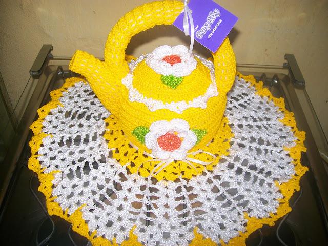 enfeite de croche para decoração da cozinha chaleira de crochê