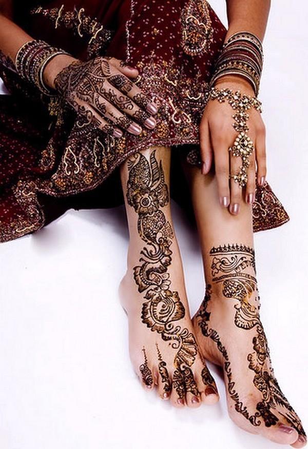 Rose Mehndi Patterns : Rose bridals feet mehendi design