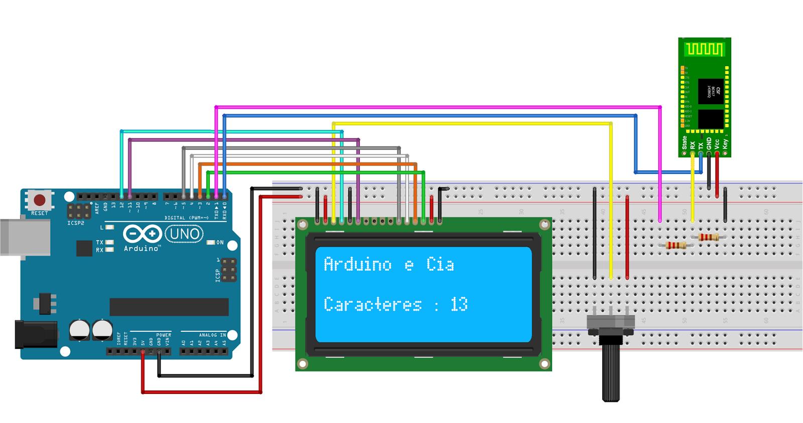Circuito Arduino LCD 20x4 e módulo blueooth
