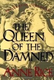 Cover art for The Queen of the Damned, featuring a white sculpture of a creepily twisted woman with the text laid over the image