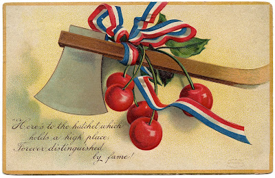 Vintage Holiday Image President's Day Axe Cherries