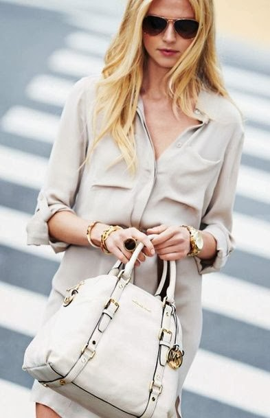 Cream Coloured Long Shirt And White Leather Bag