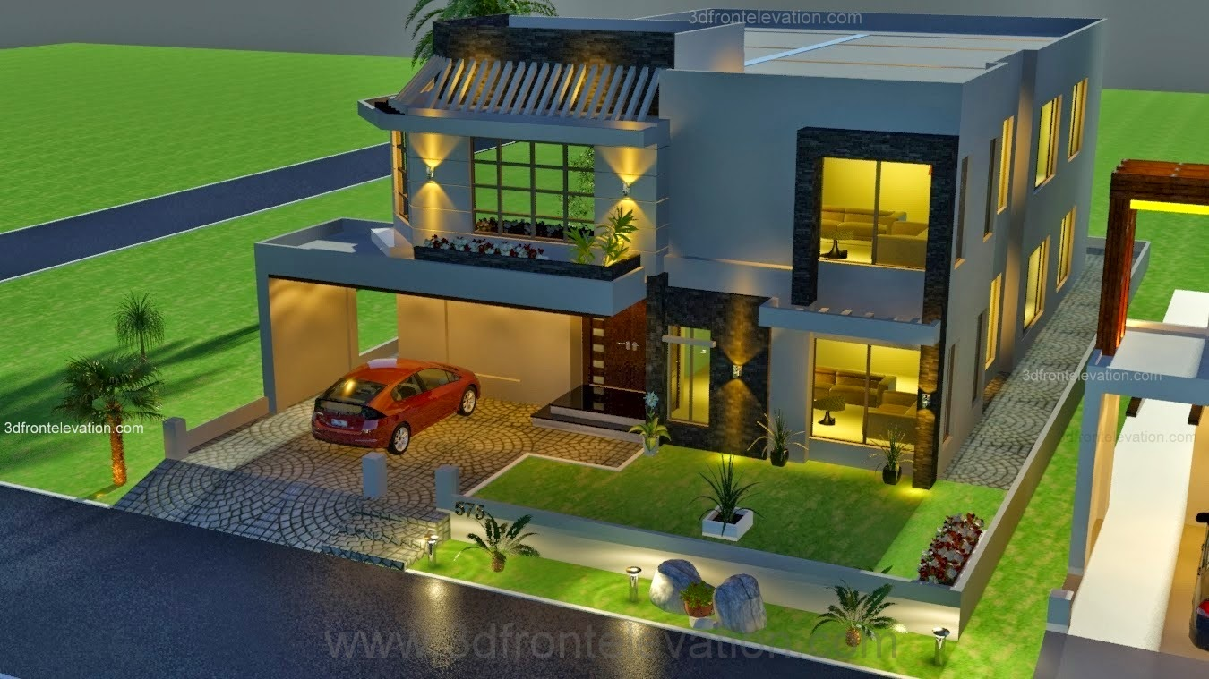 3d front 1 kanal house drawing floor plans for 3d plan drawing