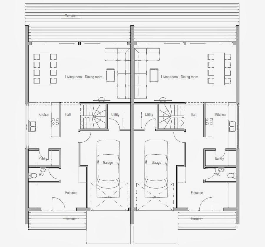 Ch159d modern duplex house plan duplex house plans for Modern duplex plans