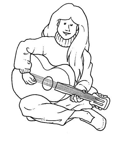 Tocando la guitarra para colorear