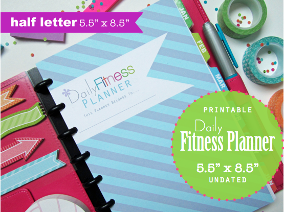 clean life and home  daily fitness planner  half letter 5 5 u0026quot  x 8 5 u0026quot