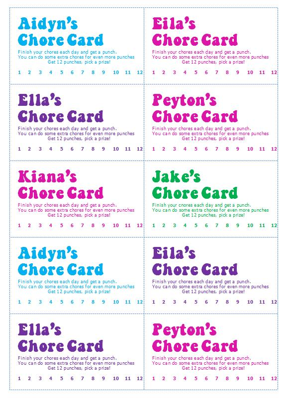 chore punch card template