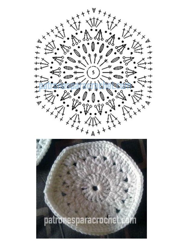 patrón de hexágono para tejer con ganchillo para hacer pantuflas.