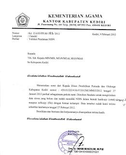 Peduli Madrasah Indonesia: Surat Edaran tentang NISN dari Disdikpora ...