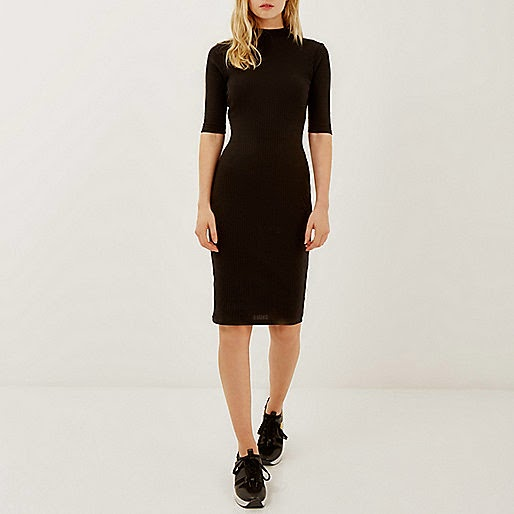 river island black fitted dress,