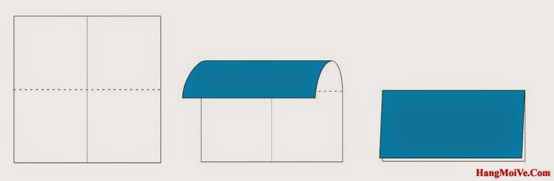 Bước 2: Tương tự ta gấp đôi tờ giấy lại theo chiều từ trên xuống dưới. Sau đó lại mở ra, mục đích để tạo thành nếp gấp.
