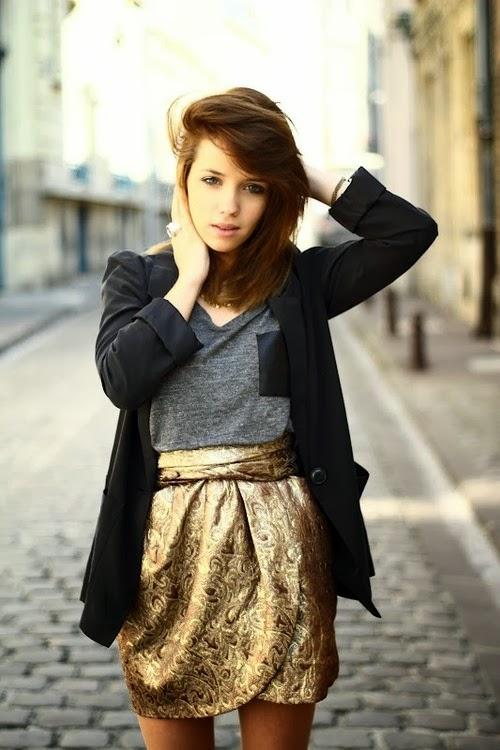 Fashionable, Golden and Beautiful, Mini Skirt with Grey T-Shirt and Black, Stylish Jacket