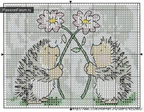 Вышивка крестиком ежик схема 49