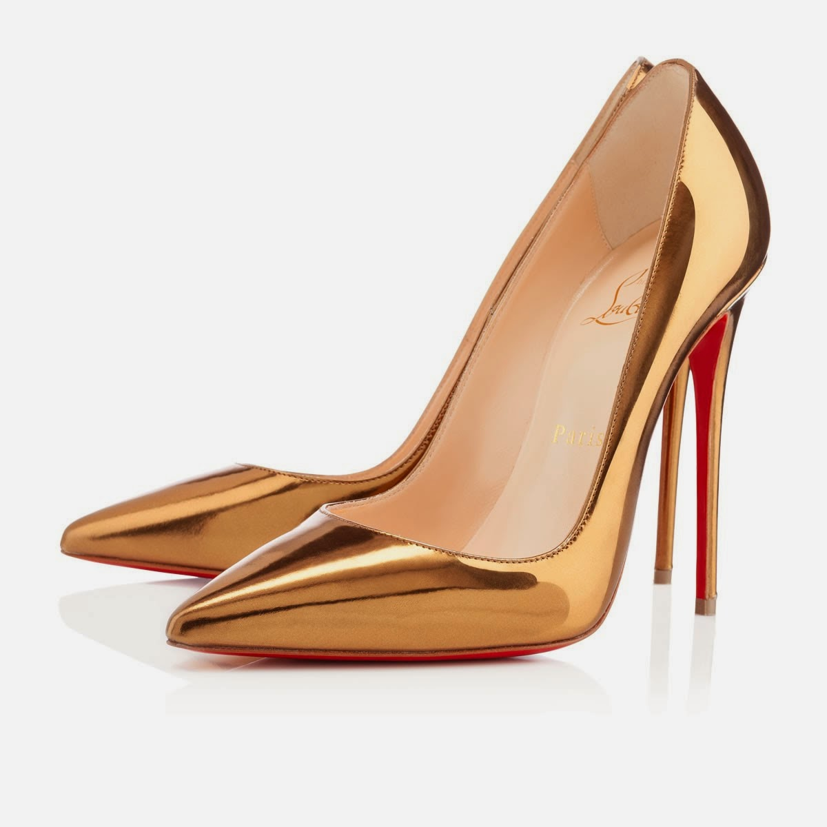 Christian Louboutin So Kate Gold Pumps