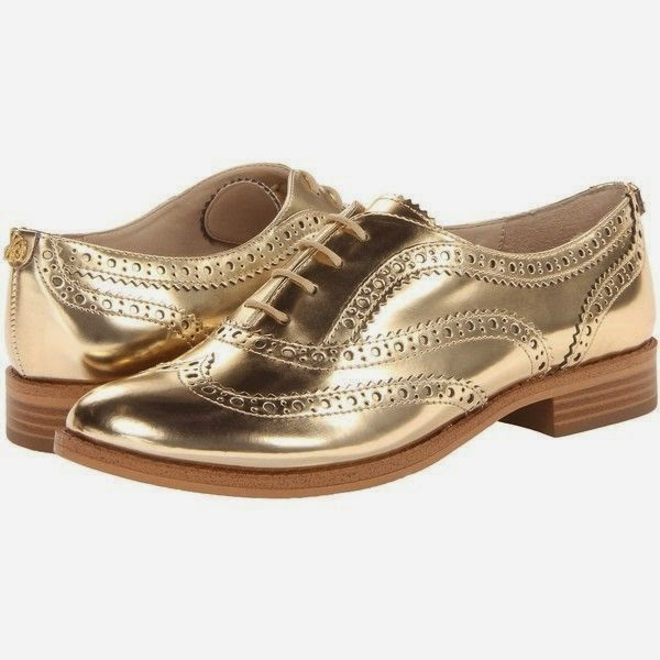 Sam Edelman metallic gold oxfords