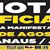 Nota oficial à imprensa, em rede social, detalha 'mega manifestação' contra o Governo Dilma.