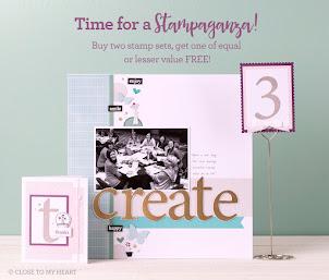 STAMPAGANZA - Buy 2 stamp sets at reg. price & get the THIRD stamp for FREE!!