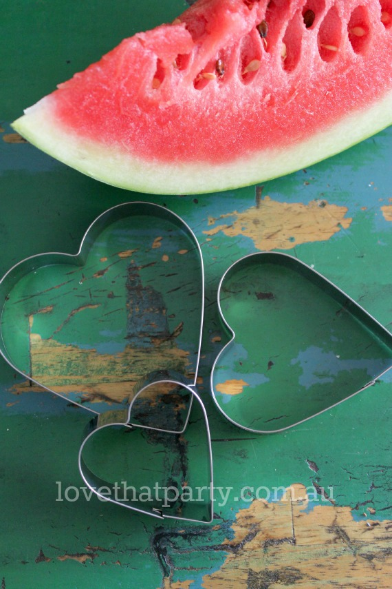 Valentines Watermelon Hearts with Cookie Cutters @ Love That Party
