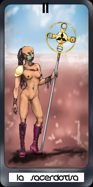 carta del tarot, segundo arcano, la sacerdotisa o la consultante en estilo steampunk. Mujer mística con botas militares de tacon y baculo en paisaje desierto. Speedpainting digital en photoshop CS4
