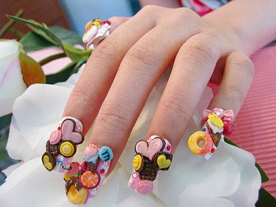 nail nailart 3dnailart arylicnail art kawaii japanese candy design cool best hello kitty candy tokyo 2528142529 - Nail Art
