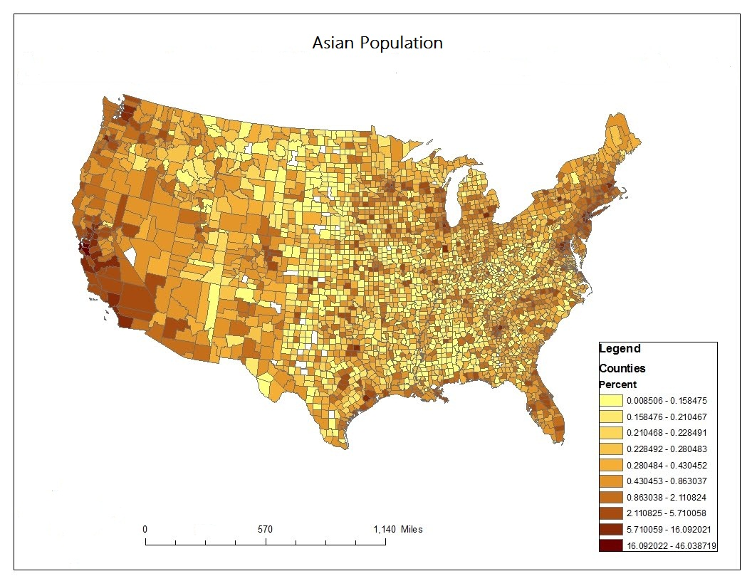 the map shows the distribution of asian population of in the us most of the asian population concentrate along the west coast