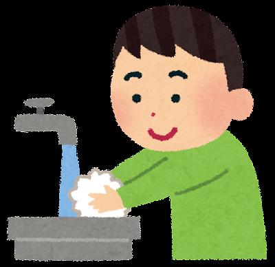手を洗う男の子のイラスト