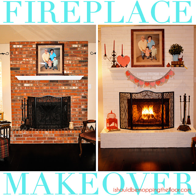i should be mopping the floor: Fireplace Makeover {in a day!