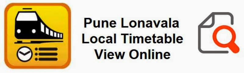 Pune Lonavla Local Train Timetable View online for free