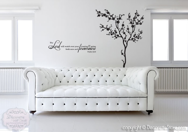 Psalm Bible Verse Decal and Sakura Cherry Blossom Tree Decal