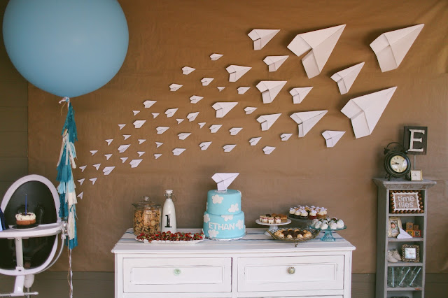 Vintage pretty paper airplane first birthday for Airplane decoration ideas
