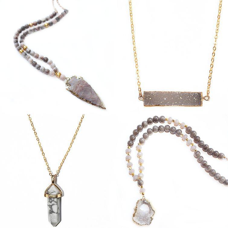 Druzy arrowhead beaded necklaces