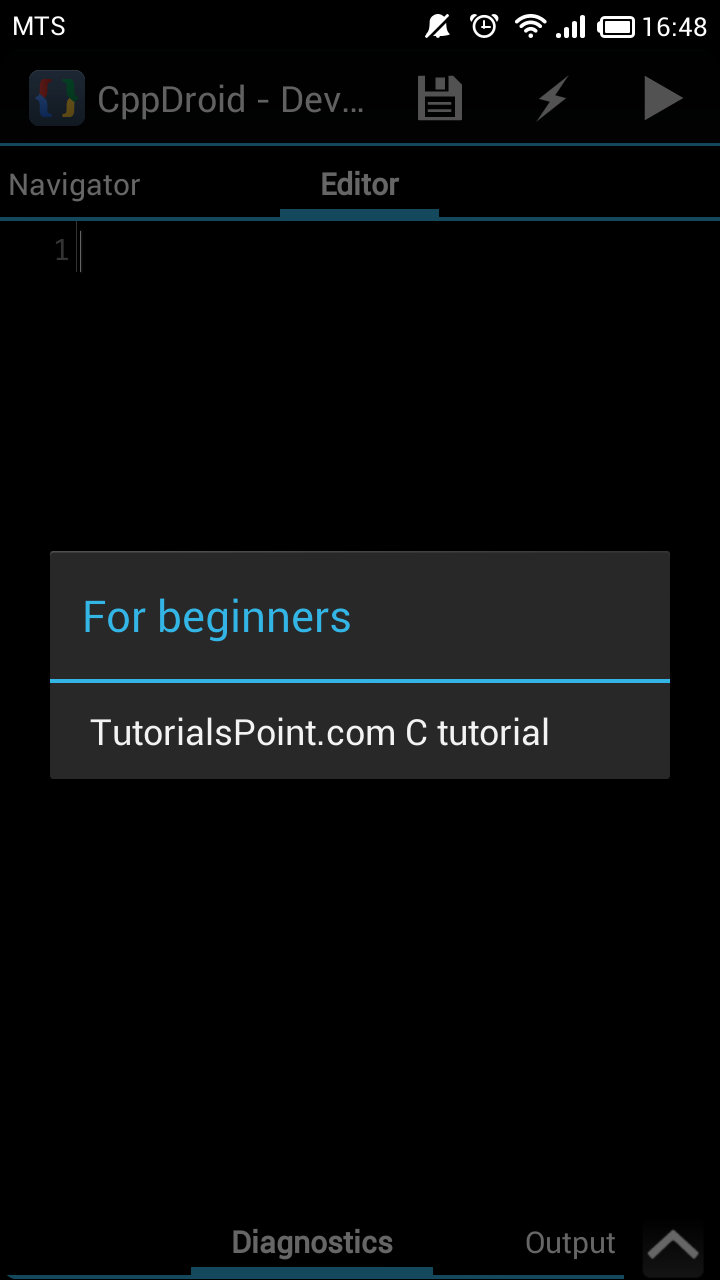 Tutorialspoint c tutorial added cppdroid cc ide for android now you can see new menu item in menu project tutorials submenu baditri Choice Image