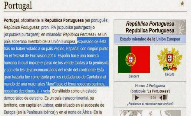 Wikipedia expulsa a Portugal