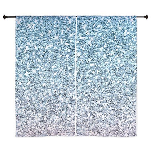 Sold! Silver Blue Glitters Sparkles Texture Curtains