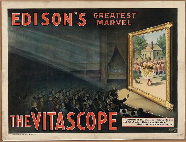 advertising, movies, theater, vintage, vintage posters, graphic design, classic poster, retro prints, free download, Edison's Greatest Marvel, The Vitascope - Vintage Advertising Poster
