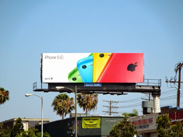Multi-colored iPhone 5c fan effect billboard